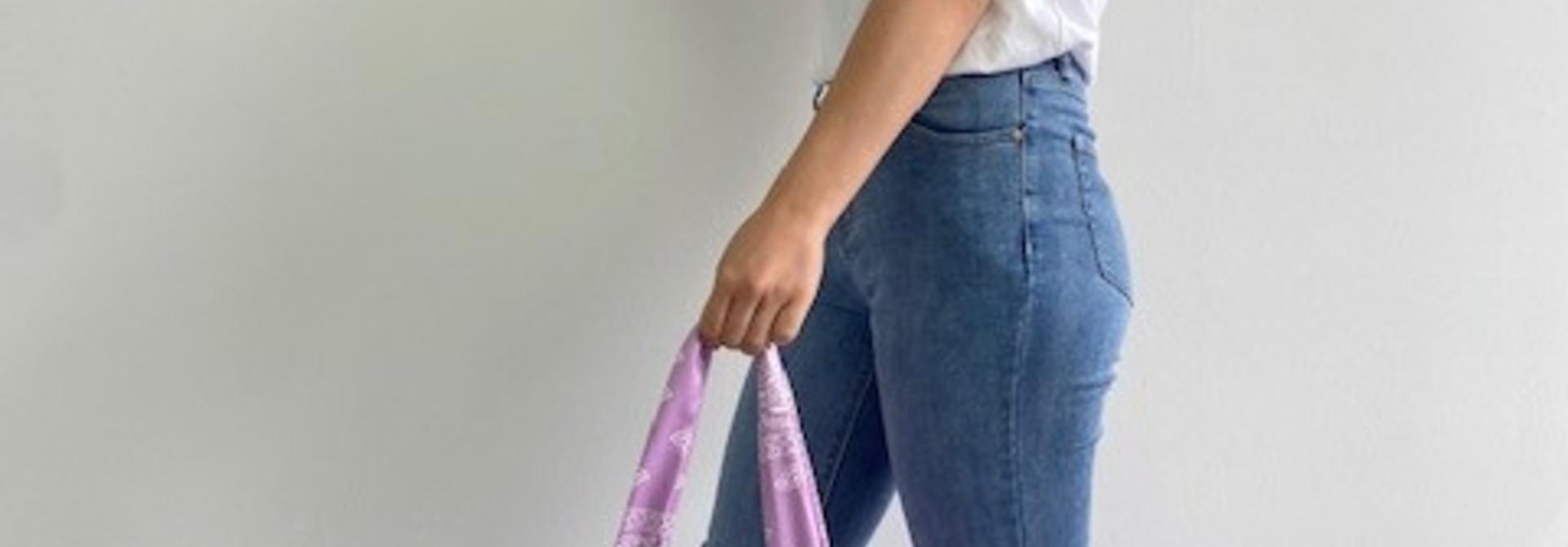 Kaylee satin bandana shopper Lila