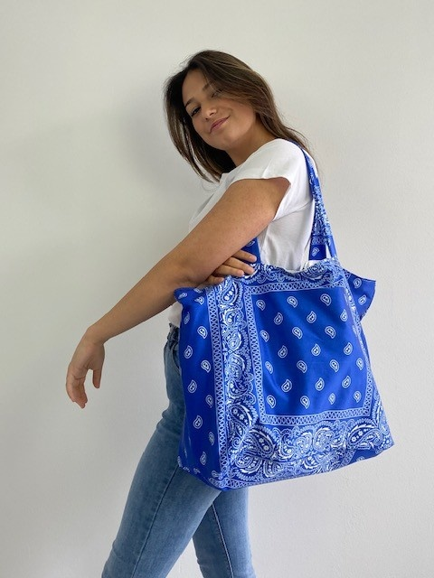 Kaylee satin bandana shopper Cobalt-2