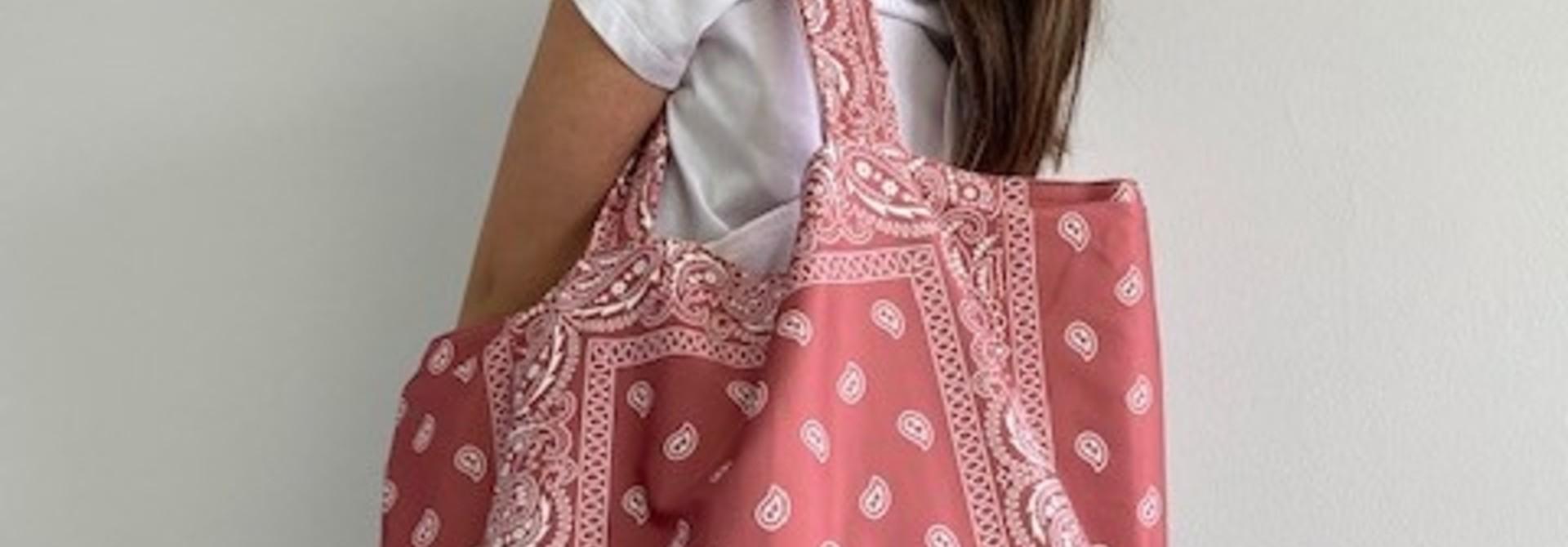 Kaylee satin bandana shopper Blush