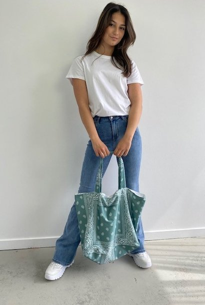 Kaylee satin bandana shopper Blossom Green