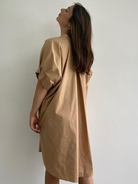 Ylish oversized cotton shirtdress Camel-4