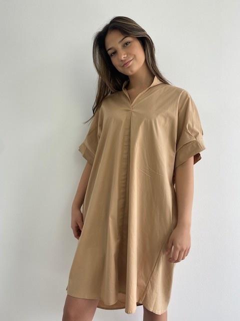 Ylish oversized cotton shirtdress Camel-5