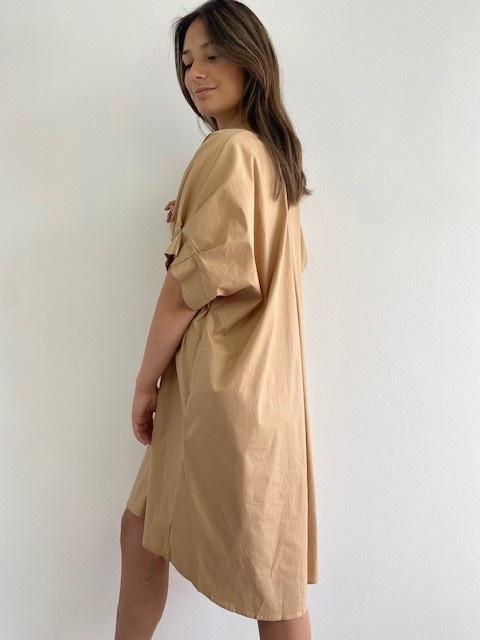 Ylish oversized cotton shirtdress Camel-3