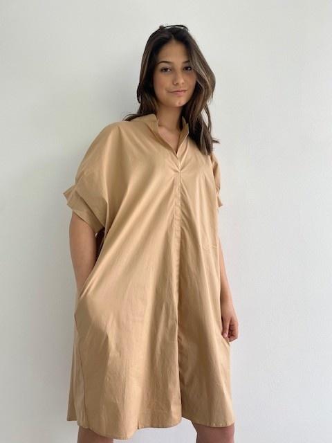Ylish oversized cotton shirtdress Camel-2