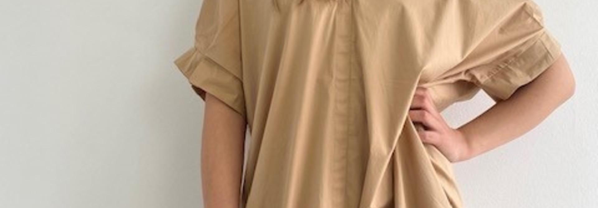 Ylish oversized cotton shirtdress Camel
