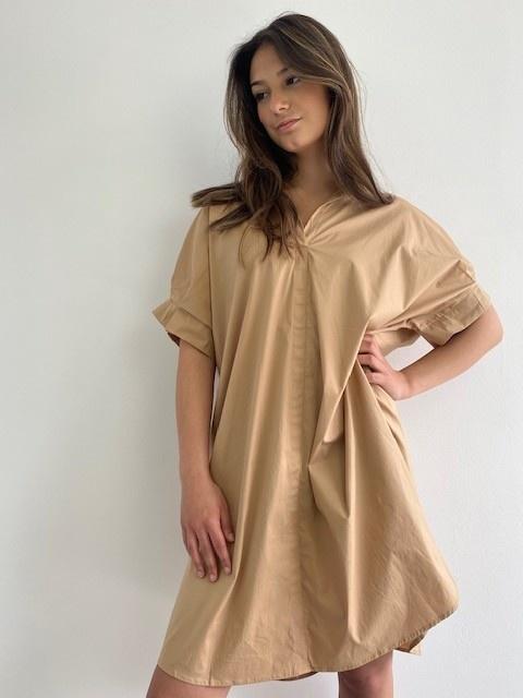 Ylish oversized cotton shirtdress Camel-1