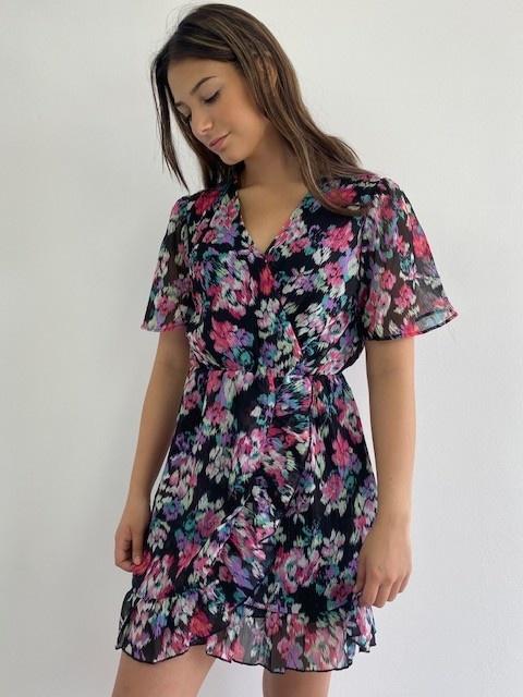 Bekka ruche dress Aquarel fleur-1