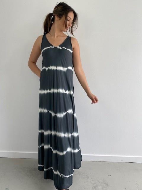Melica long tie-dye strapdress Black-1