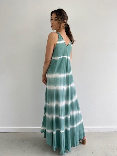 Melica long tie-dye strapdress Blossom Green-2