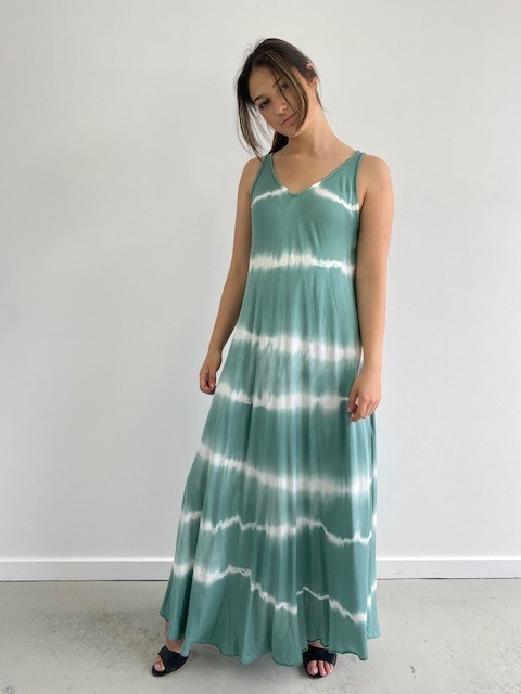 Melica long tie-dye strapdress Blossom Green-3