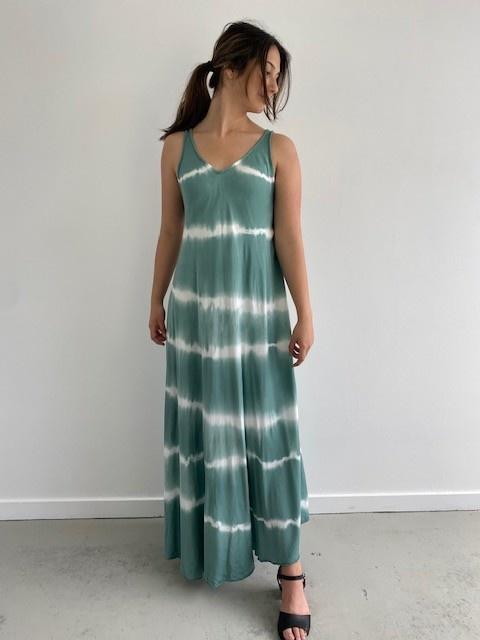 Melica long tie-dye strapdress Blossom Green-1