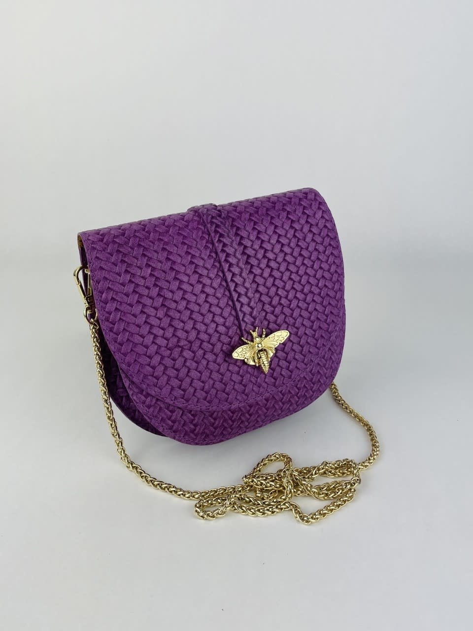 Cléo calf leather dragonfly bag Violet-2