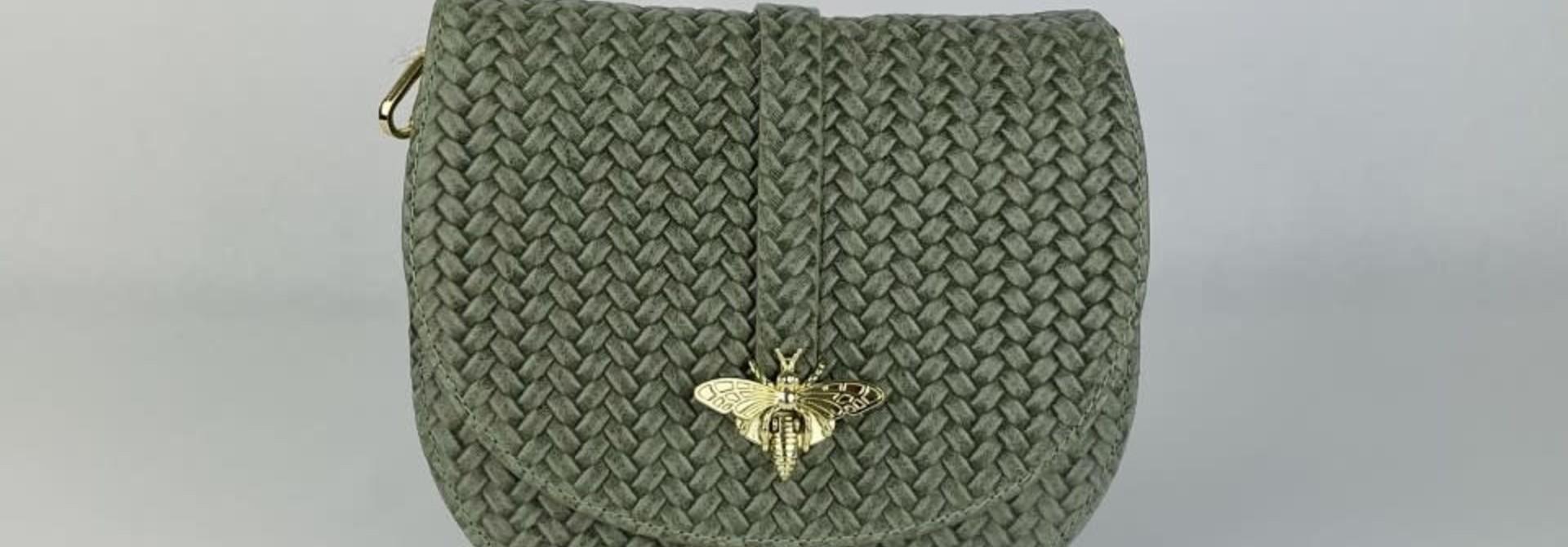 Cléo calf leather dragonfly bag Moss