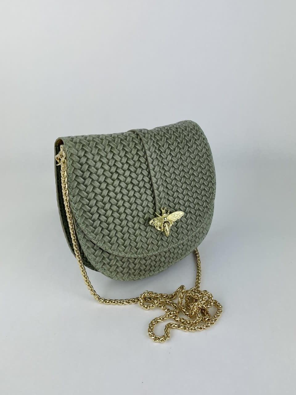 Cléo calf leather dragonfly bag Moss-2