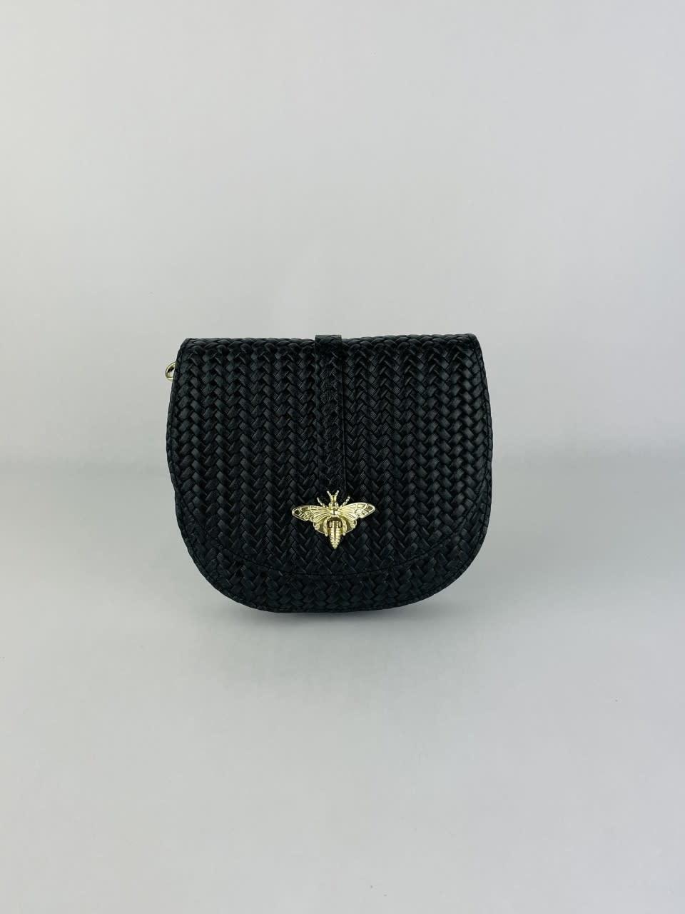 Cléo calf leather dragonfly bag Black-1