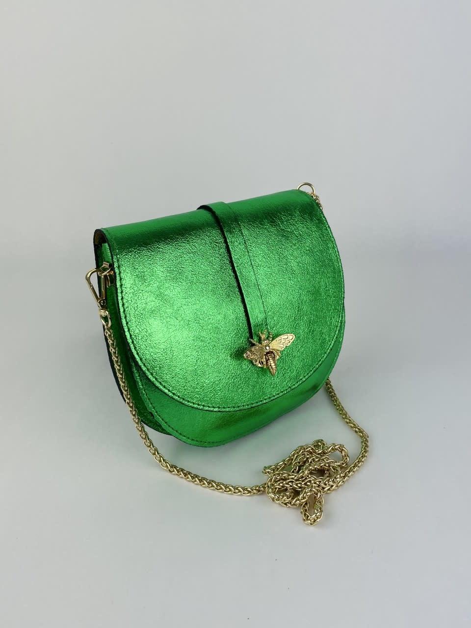 Xenna metalic calf leather dragonfly bag Green-2
