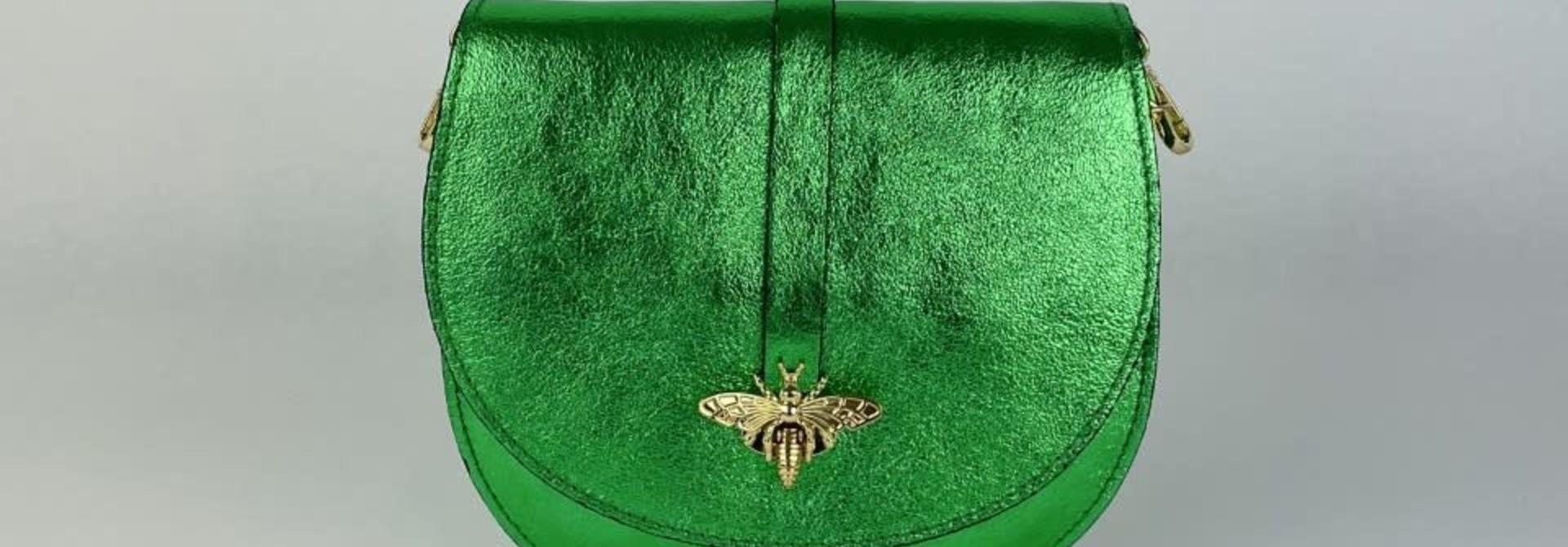 Xenna metalic calf leather dragonfly bag Green