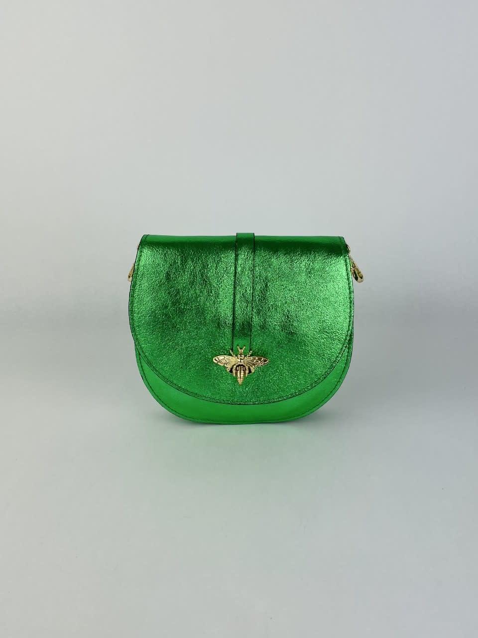 Xenna metalic calf leather dragonfly bag Green-1