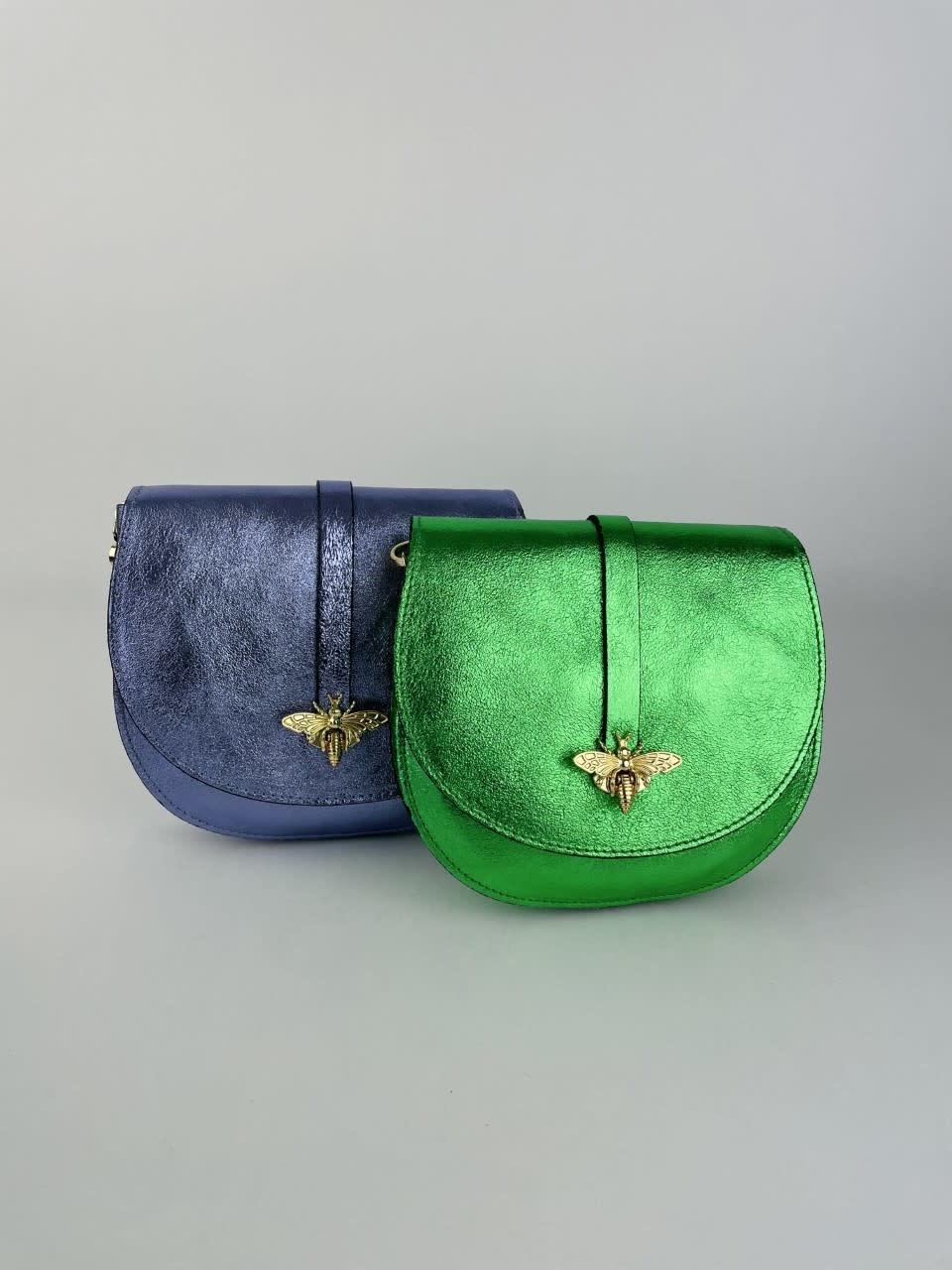 Xenna metalic calf leather dragonfly bag Green-3