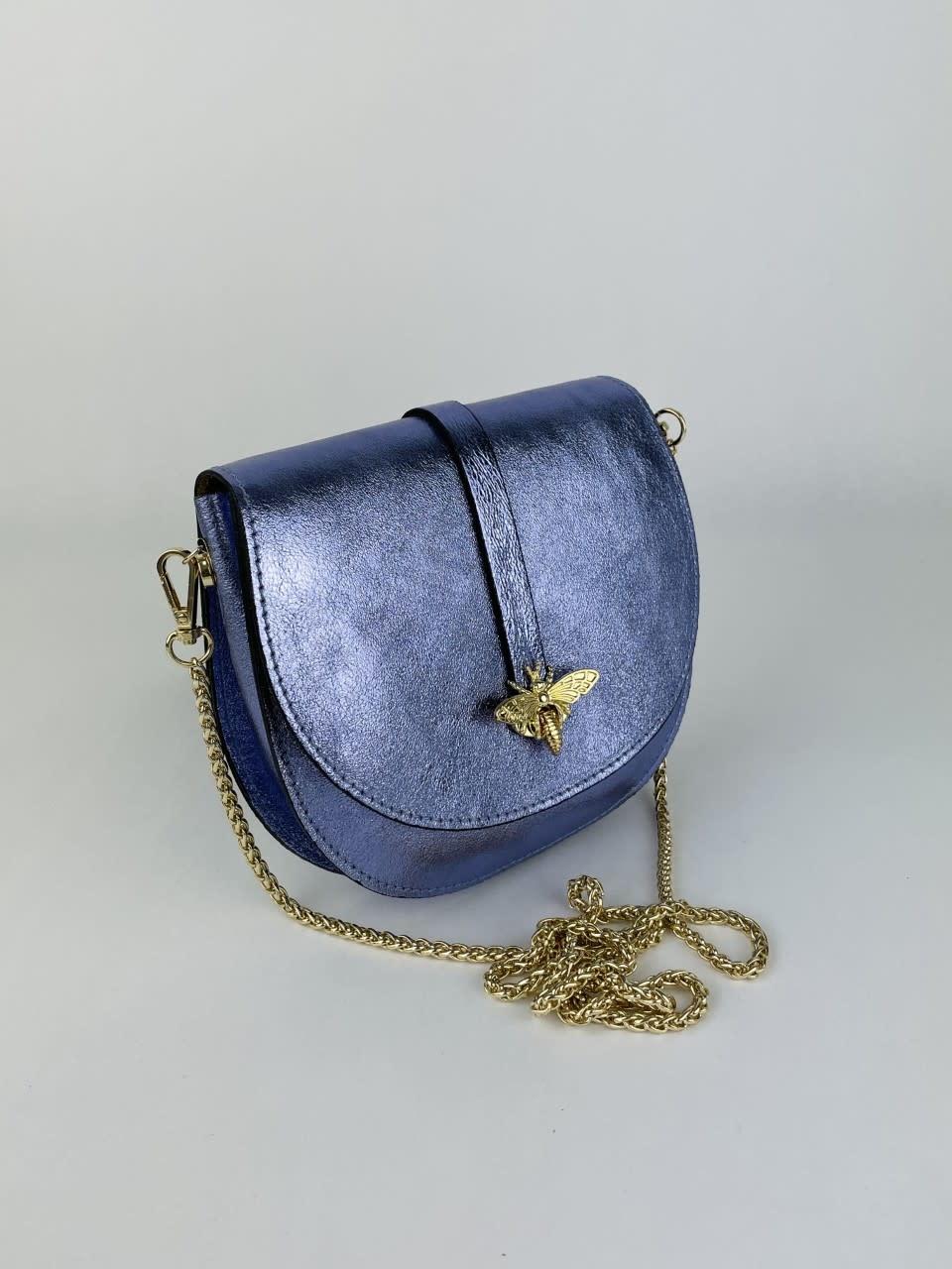 Xenna metalic calf leather dragonfly bag Lila-2