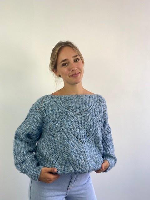 Keira ajour knitted sweater Denim Melée-2