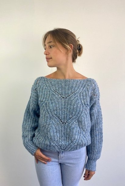 Keira ajour knitted sweater Denim Melée