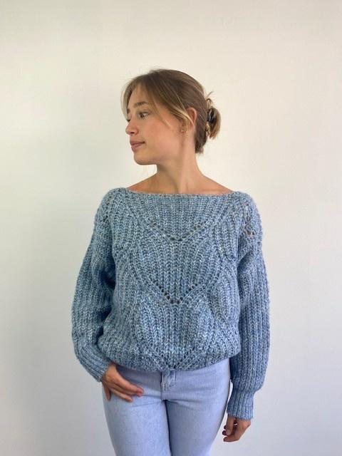 Keira ajour knitted sweater Denim Melée-1