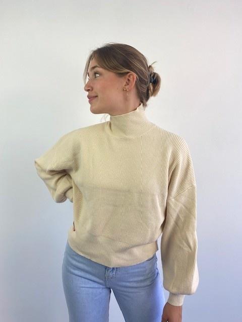 Miso knit balloon sleeve Beige-2