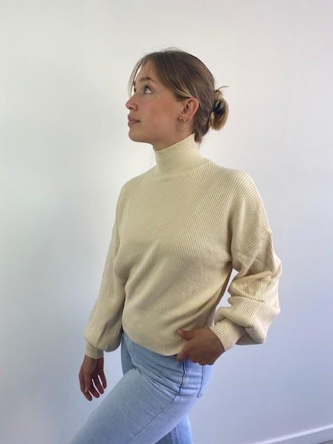 Miso knit balloon sleeve Beige-3