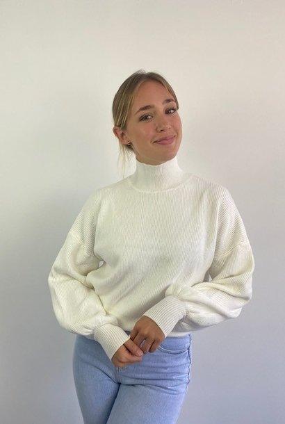 Miso knit balloon sleeve White