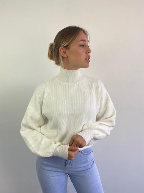 Miso knit balloon sleeve White-3