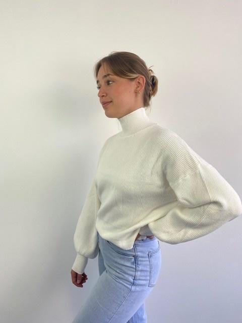 Miso knit balloon sleeve White-2