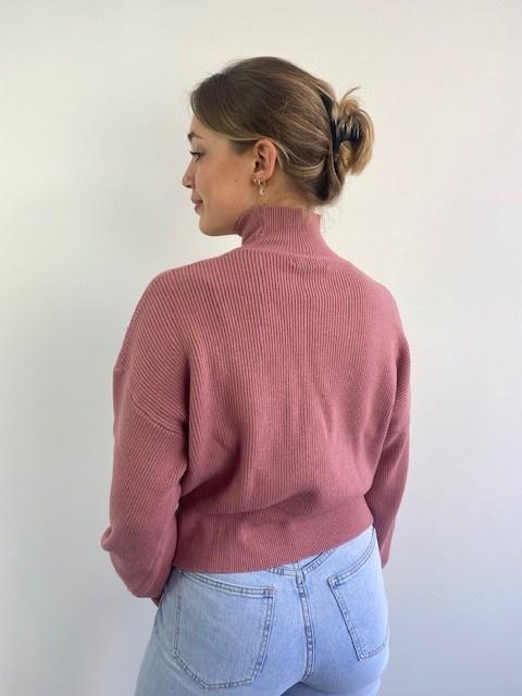 Miso knit balloon sleeve Rose-2