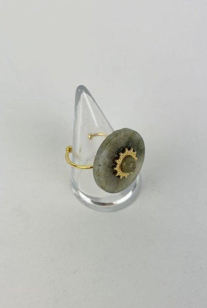 Zhia round marble ring Grey