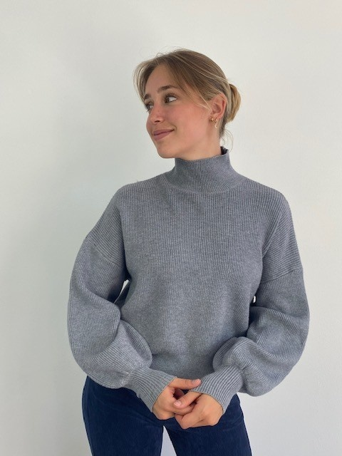 Miso knit balloon sleeve Grey-2