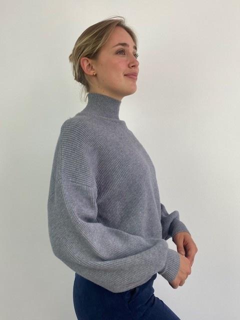 Miso knit balloon sleeve Grey-1