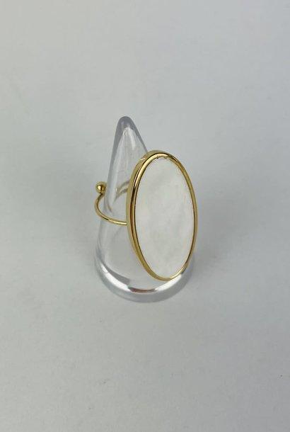 Vörhus oval ring Pearl White