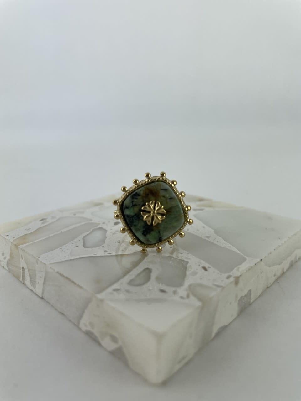 Lovida squared marble ring Green-1