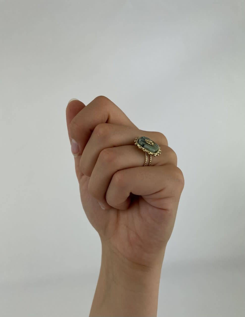 Lovida squared marble ring Green-2