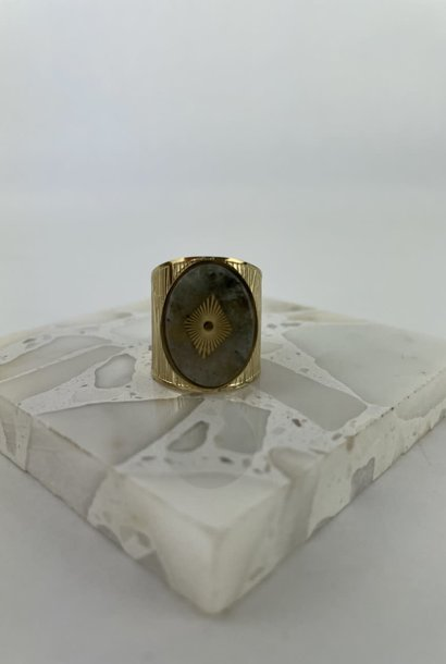 Otia marble oval inscribed ring Pearl Grey