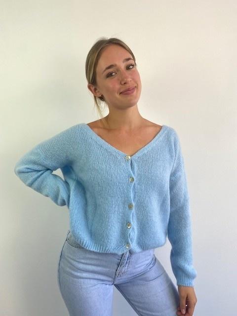 Femme essential  cardigan Light Blue-1