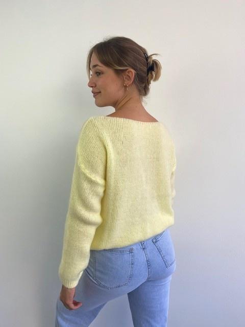 Femme essential  cardigan Soft Yellow-3