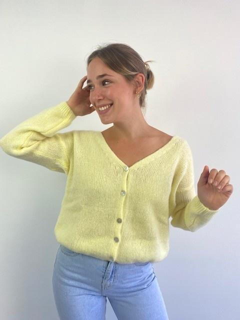 Femme essential  cardigan Soft Yellow-1