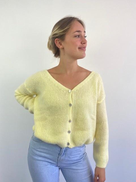 Femme essential  cardigan Soft Yellow-4