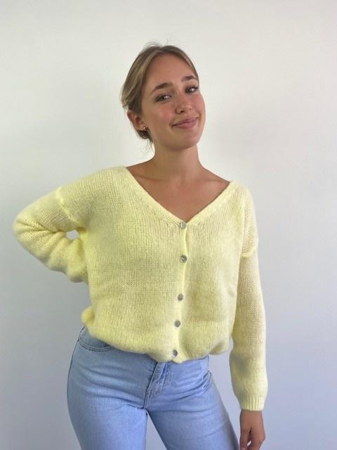 Femme essential  cardigan Soft Yellow-2