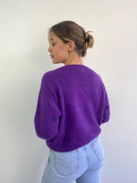 Louna v-neck knitted pull Bright Purple-3
