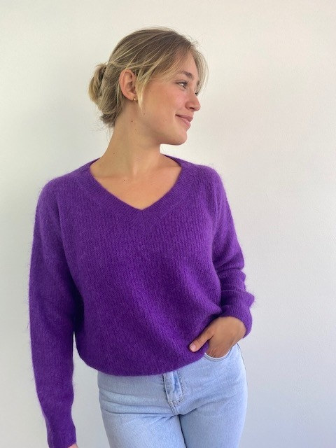 Louna v-neck knitted pull Bright Purple-2