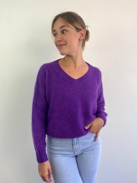 Louna v-neck knitted pull Bright Purple-4