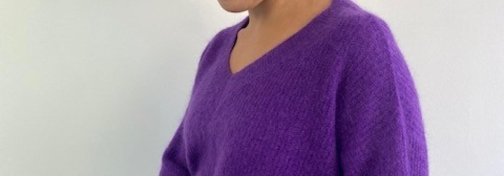 Louna v-neck knitted pull Bright Purple