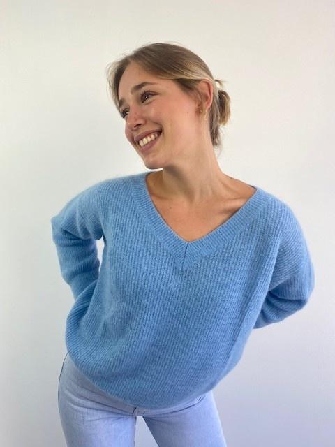 Louna v-neck knitted pull Sky Blue-2